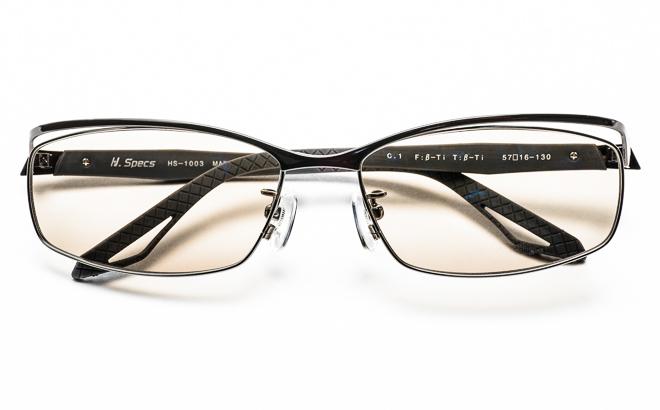 【送料無料】メガネ度付き/度なし H. Specs エイチスペックス HS-1003 1GUNガンメタル【薄型レンズ追加料金0円】(メガネケース・メガネ拭き付) メガネ/めがね/眼鏡/度付きメガネ/度入り/伊達メガネ
