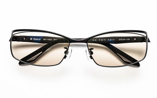 【送料無料】メガネ度付き/度なし H. Specs エイチスペックス HS-1003 2MBKマットブラック【薄型レンズ追加料金0円】(メガネケース・メガネ拭き付) メガネ/めがね/眼鏡/度付きメガネ/度入り/伊達メガネ
