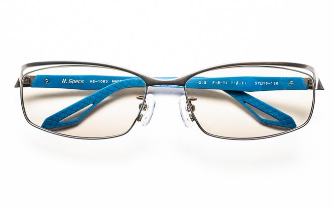 【送料無料】メガネ度付き/度なし H. Specs エイチスペックス HS-1003 3GRNVグレー×ネイビー【薄型レンズ追加料金0円】(メガネケース・メガネ拭き付) メガネ/めがね/眼鏡/度付きメガネ/度入り/伊達メガネ