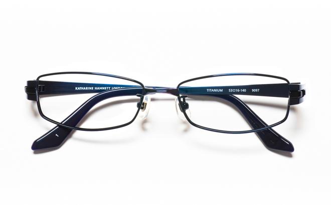 【送料無料】メガネ度付き/度なし KATHARINE HAMNETT キャサリン ハムネット KH9097 1NVブルー【薄型レンズ追加料金0円】(メガネケース・メガネ拭き付) メガネ/めがね/眼鏡/度付きメガネ/度入り/伊達メガネ/眼鏡フレーム