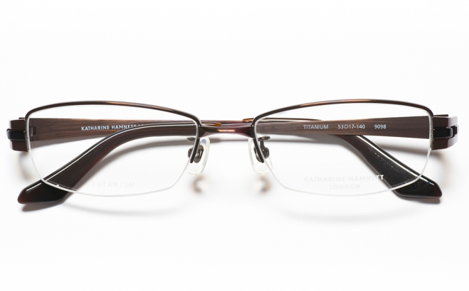 【送料無料】メガネ度付き/度なし KATHARINE HAMNETT キャサリン ハムネット KH9098 2BRブラウン【薄型レンズ追加料金0円】(メガネケース・メガネ拭き付) メガネ/めがね/眼鏡/度付きメガネ/度入り/伊達メガネ/ナイロール/眼鏡フレーム 【10P13Dec14】