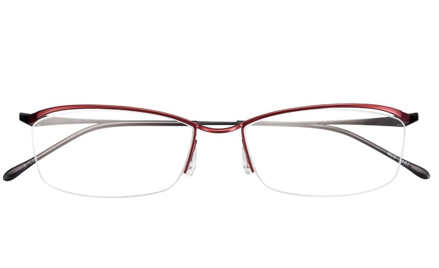 【送料無料】メガネ度付き/度なし nude ヌード NUD-1001 1DREダークレッド【薄型レンズ追加料金0円】(メガネケース・メガネ拭き付) メガネ/めがね/眼鏡/度付きメガネ/度入り/伊達メガネ/ナイロール
