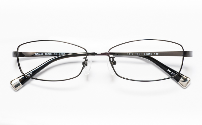 【送料無料】メガネ度付き/度なし ROYAL CLUB ロイヤルクラブ RC-2002 1(BK)ブラック【薄型レンズ追加料金0円】(メガネケース・メガネ拭き付) メガネ/めがね/眼鏡/度付きメガネ/度入り/伊達メガネ