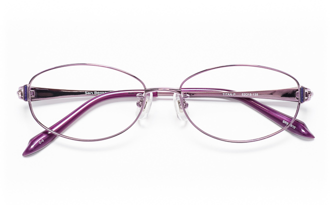 【送料無料】メガネ度付き/度なし San Bernard サンベルナール SR54-010 3(PU)パープル【薄型レンズ追加料金0円】(メガネケース・メガネ拭き付) メガネ/めがね/眼鏡/度付きメガネ/度入り/伊達メガネ/眼鏡フレーム