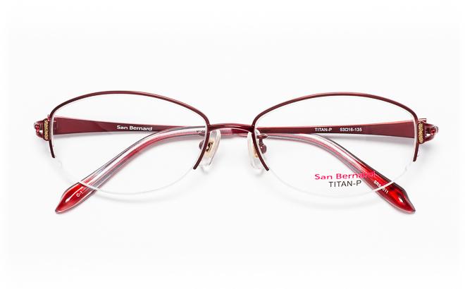 【送料無料】メガネ度付き/度なし San Bernard サンベルナール SR54-011 1(WN)レッド【薄型レンズ追加料金0円】(メガネケース・メガネ拭き付) メガネ/めがね/眼鏡/度付きメガネ/度入り/伊達メガネ/ナイロール/眼鏡フレーム