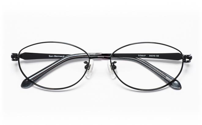 【送料無料】メガネ度付き/度なし San Bernard サンベルナール SR54-012 1(BK)ブラック【薄型レンズ追加料金0円】(メガネケース・メガネ拭き付) メガネ/めがね/眼鏡/度付きメガネ/度入り/伊達メガネ/眼鏡フレーム