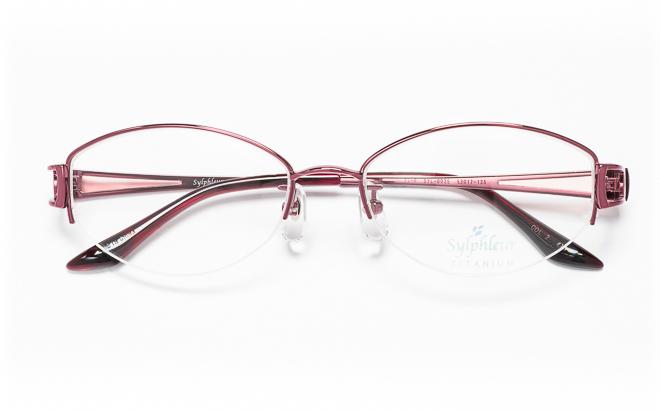 【送料無料】メガネ度付き/度なし Sylphleurシルフルール SYL-003S 2(WI)レッド【薄型レンズ追加料金0円】(メガネケース・メガネ拭き付) メガネ/めがね/眼鏡/度付きメガネ/度入り/伊達メガネ/眼鏡フレーム