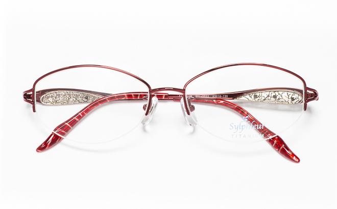 【送料無料】メガネ度付き/度なし Sylphleurシルフルール SYL-005S 1(WI)レッド【薄型レンズ追加料金0円】(メガネケース・メガネ拭き付) メガネ/めがね/眼鏡/度付きメガネ/度入り/伊達メガネ/眼鏡フレーム