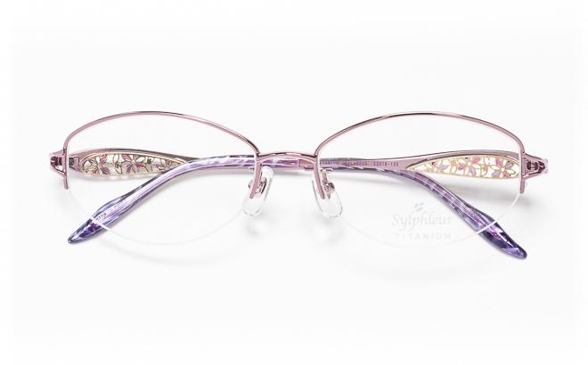 【送料無料】メガネ度付き/度なし Sylphleurシルフルール SYL-005S 2(PU)パープル【薄型レンズ追加料金0円】(メガネケース・メガネ拭き付) メガネ/めがね/眼鏡/度付きメガネ/度入り/伊達メガネ