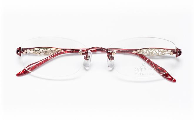 【送料無料】メガネ度付き/度なし Sylphleurシルフルール SYL-006S 1(WI)レッド【薄型レンズ追加料金0円】(メガネケース・メガネ拭き付) メガネ/めがね/眼鏡/度付きメガネ/度入り/伊達メガネ