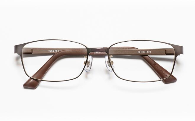 【送料無料】メガネ度付き/度なし type-fit タイプフィット TF-1001 1BRブラウン【薄型レンズ追加料金0円】(メガネケース・メガネ拭き付) メガネ/めがね/眼鏡/度付きメガネ/度入り/伊達メガネ