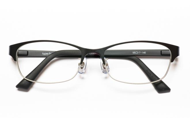 【送料無料】メガネ度付き/度なし type-fit タイプフィット TF-1007 3BKブラック【薄型レンズ追加料金0円】(メガネケース・メガネ拭き付) メガネ/めがね/眼鏡/度付きメガネ/度入り/伊達メガネ