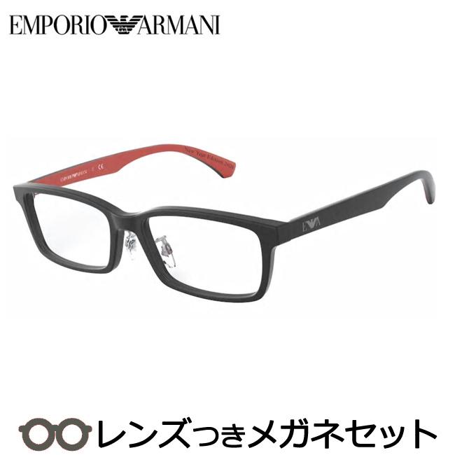 【送料無料】HOYA製レンズつき 【EMPORIO ARMANI】エンポリオアルマーニメガネセット EA3167D 5836 マットブラック 56サイズ セル スクエア 鼻パットつき 度付き 度なし ダテメガネ 伊達眼鏡 薄型 UVカット 撥水コート