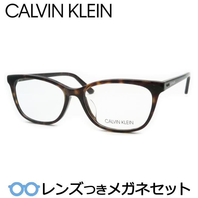 【送料無料】HOYA製レンズつき メンズカジュアル【Calvin Klein】カルバンクラインメガネセット CK19554A 235 ブラウンデミ ウェリントン 度付き 度なし ダテメガネ 伊達眼鏡 薄型 UVカット 撥水コート