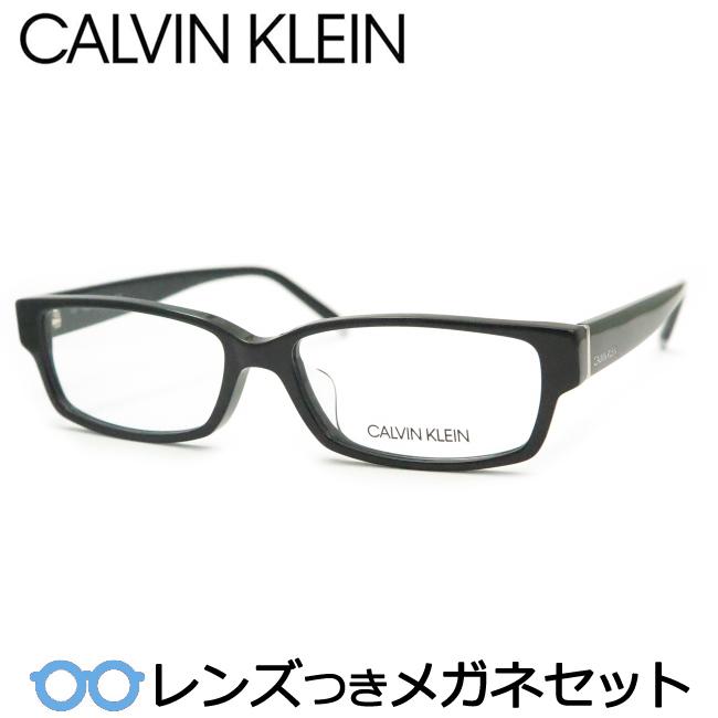 【送料無料】HOYA製レンズつき メンズカジュアル【Calvin Klein】カルバンクラインメガネセット 6004-001ブラック・セル 度付き 度なし ダテメガネ 伊達眼鏡 薄型 UVカット 撥水コート