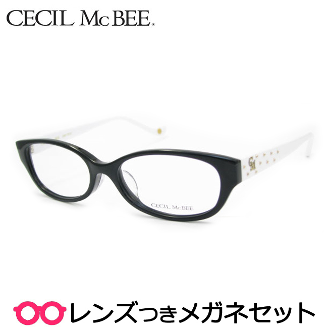 【送料無料】HOYA製レンズつき かわいく輝きたい♪【CECIL McBEE】セシルマクビーメガネセット 7019-1セル 度付き 度なし ダテメガネ 伊達眼鏡 薄型 UVカット 撥水コート