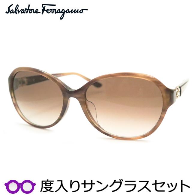 【送料無料】【Salvatore Ferragamo】フェラガモ度入りサングラスセット(度付きサングラス)SF804SA 216・度付き・度なし・ブラウン