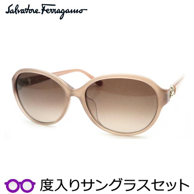 【送料無料】【Salvatore Ferragamo】フェラガモ度入りサングラスセット(度付きサングラス)SF804SA 264・度付き・度なし・ローズベージュ