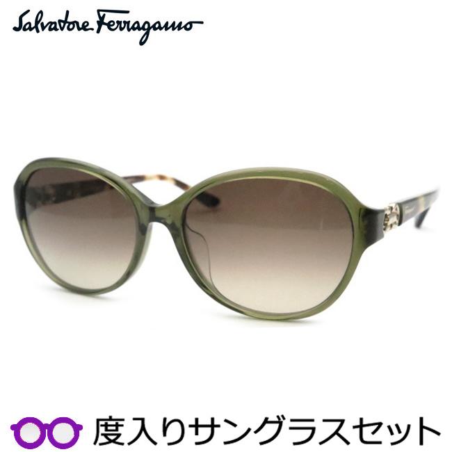 【送料無料】【Salvatore Ferragamo】フェラガモ度入りサングラスセット(度付きサングラス)SF804SA 323・度付き・度なし・スケルトンオリーブグリーン