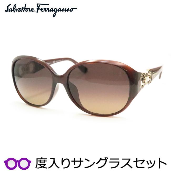 【送料無料】【Salvatore Ferragamo】フェラガモ度入りサングラスセット(度付きサングラス)SF896SRA 210 度付き 度なし ブラウン