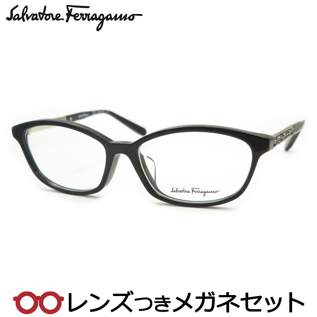 【送料無料】HOYA製レンズつき 【Salvatore Ferragamo】フェラガモメガネセット SF2808RA 001 ブラック 54サイズ 度付き 度なし ダテメガネ 伊達眼鏡 薄型 UVカット 撥水コート【国内正規品】