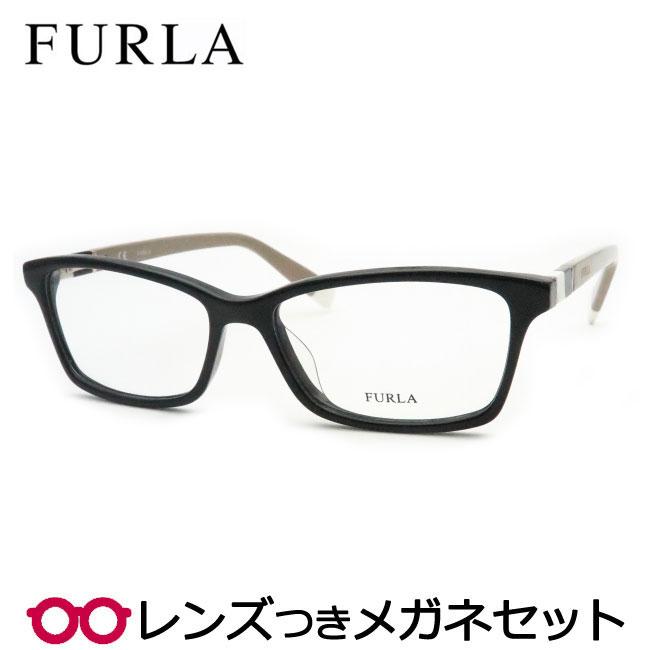 【送料無料】HOYA製レンズつき 【FURLA】フルラメガネセット VU4945 0700 ブラック セル スクエア  レディース 人気 かわいい 度付き 度なし ダテメガネ 伊達眼鏡 薄型 UVカット 撥水コート