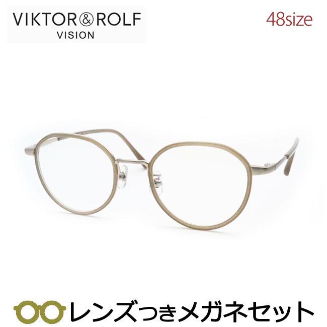 【送料無料】HOYA製レンズつき 【VIKTOR&ROLF】ビクター&ロルフメガネセット 70-0160-6 48サイズ・ベージュ/ゴールド 度付き 度なし ダテメガネ 伊達眼鏡 薄型 UVカット 撥水コート