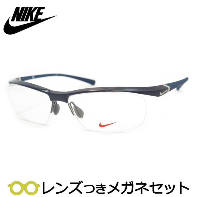 【送料無料】HOYA製レンズつき 【NIKE】ナイキメガネセット 7070/3-019・ネイビー スポーツ 度付き 度なし ダテメガネ 伊達眼鏡 薄型 UVカット 撥水コート