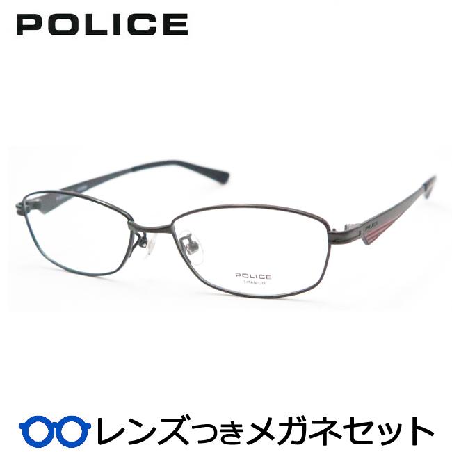【送料無料】HOYA製レンズつき クールに決めよう♪ 【POLICE】ポリスメガネセット VPL546J-BK10 度付き 度なし ダテメガネ 伊達眼鏡 薄型 UVカット 撥水コート