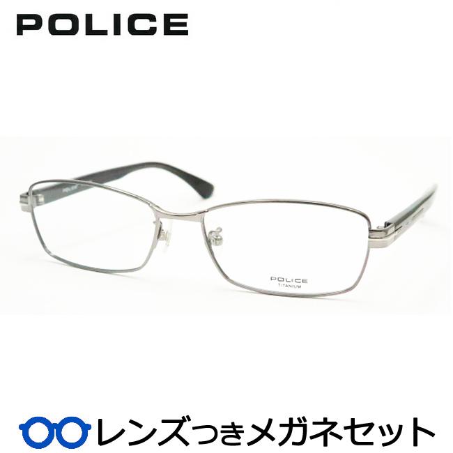 【送料無料】HOYA製レンズつき クールに決めよう♪ 【POLICE】ポリスメガネセット VPL610J 0568グレイ 度付き 度なし ダテメガネ 伊達眼鏡 薄型 UVカット 撥水コート