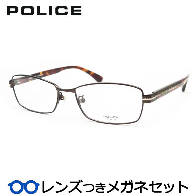 【送料無料】HOYA製レンズつき クールに決めよう♪ 【POLICE】ポリスメガネセット VPL610J 0B21ブラウン 度付き 度なし ダテメガネ 伊達眼鏡 薄型 UVカット 撥水コート