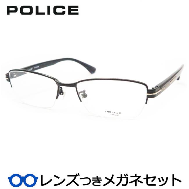 【送料無料】HOYA製レンズつき クールに決めよう♪ 【POLICE】ポリスメガネセット VPL611J 0BK3ブラック 度付き 度なし ダテメガネ 伊達眼鏡 薄型 UVカット 撥水コート