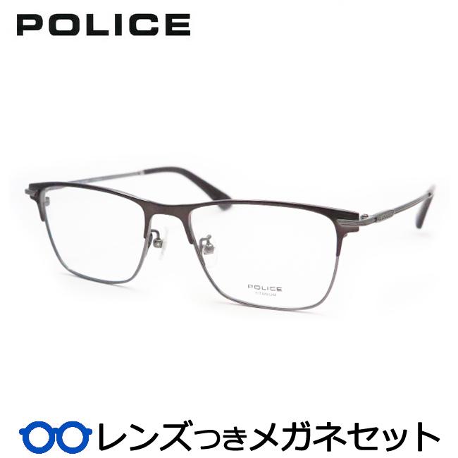 【送料無料】HOYA製レンズつき クールに決めよう♪ 【POLICE】ポリスメガネセット VPL612J 0568ブロンズ 度付き 度なし ダテメガネ 伊達眼鏡 薄型 UVカット 撥水コート