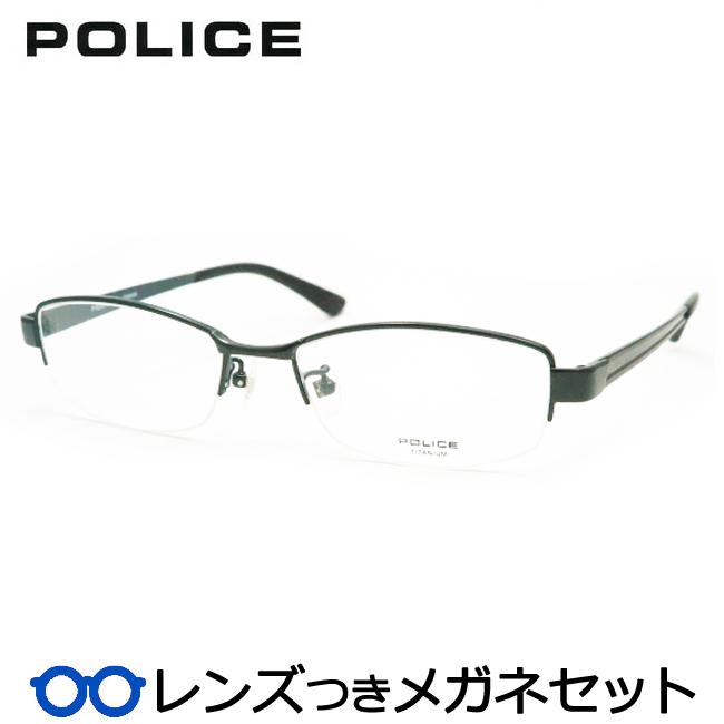 【送料無料】HOYA製レンズつき・クールに決めよう♪【POLICE】ポリスメガネセットVPL755J-0GE9・ナイロール・度付き・度なし・ダテメガネ・伊達眼鏡・【薄型】【UVカット】【撥水コート】