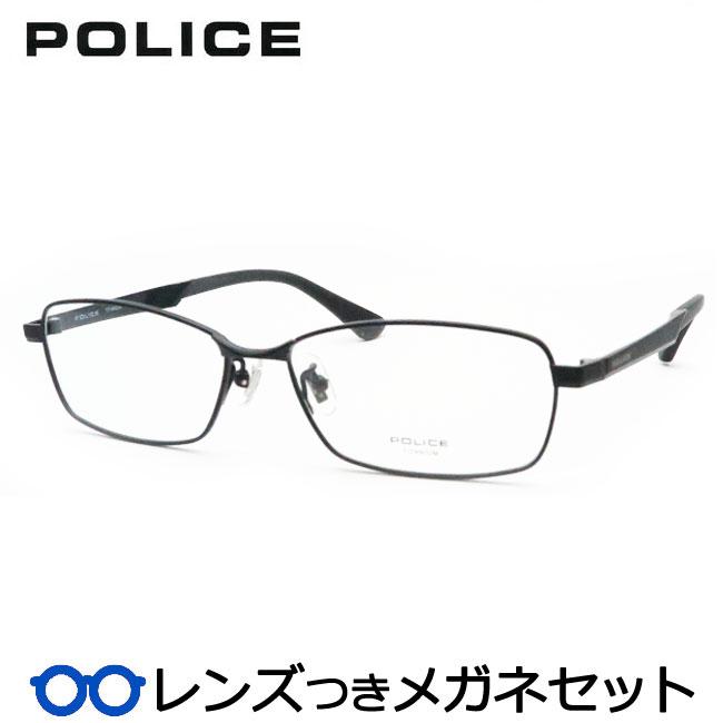【送料無料】HOYA製レンズつき クールに決めよう♪ 【POLICE】ポリスメガネセット VPL975J 0530 ブラック 度付き 度なし ダテメガネ 伊達眼鏡 薄型 UVカット 撥水コート