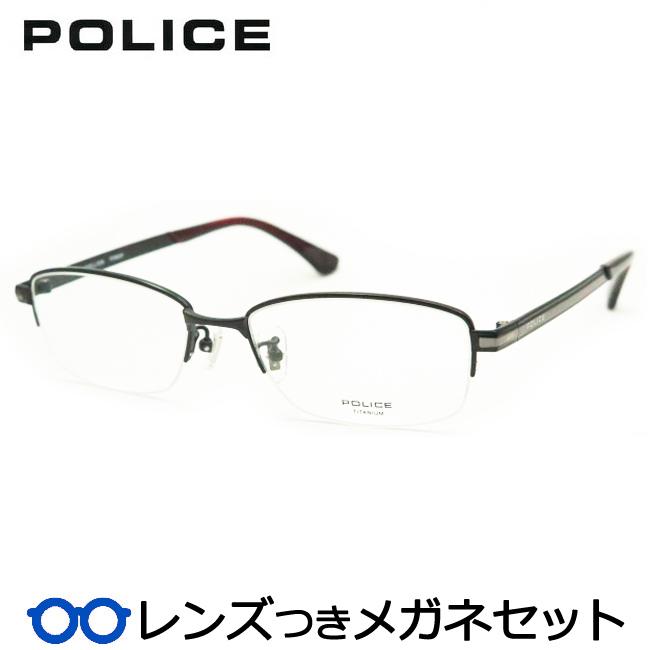 【送料無料】HOYA製レンズつき クールに決めよう♪ 【POLICE】ポリスメガネセット VPL824J 0BK3 マットブラック 度付き 度なし ダテメガネ 伊達眼鏡 薄型 UVカット 撥水コート
