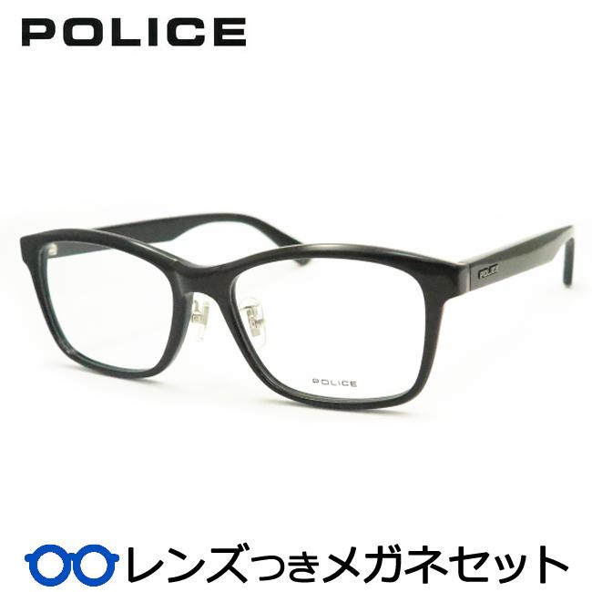 【送料無料】HOYA製レンズつき クールに決めよう♪ 【POLICE】ポリスメガネセット VPL829J 01KS ブラック セル 度付き 度なし ダテメガネ 伊達眼鏡 薄型 UVカット 撥水コート