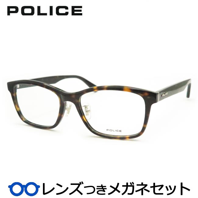 【送料無料】HOYA製レンズつき クールに決めよう♪ 【POLICE】ポリスメガネセット VPL829J 02BS デミブラウン セル 度付き 度なし ダテメガネ 伊達眼鏡 薄型 UVカット 撥水コート