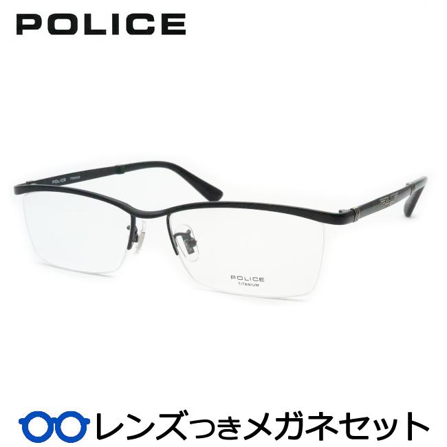 【送料無料】HOYA製レンズつき クールに決めよう♪ 【POLICE】ポリスメガネセット VPLB04J 0530 ブラック スクエア ナイロール チタン 度付き 度なし ダテメガネ 伊達眼鏡 薄型 UVカット 撥水コート