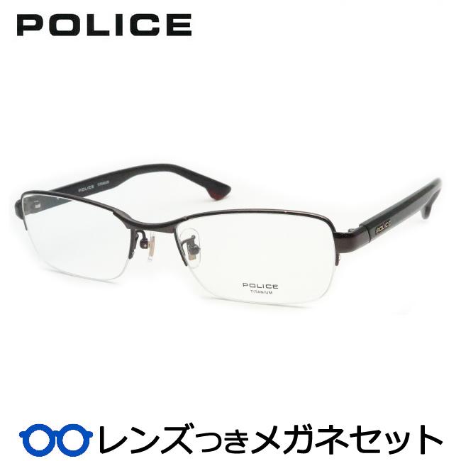 【送料無料】HOYA製レンズつき クールに決めよう♪ 【POLICE】ポリスメガネセット VPLB72J 0B32 ガンメタル スクエア ナイロール チタン 度付き 度なし ダテメガネ 伊達眼鏡 薄型 UVカット 撥水コート
