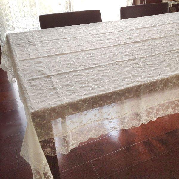薔薇 レース テーブルクロス 135×190cm テーブルクロス テーブルコーディネート ローズ テーブル バラ ROSE 雑貨 薔薇雑貨 かわいい 姫系雑貨