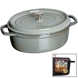 『 両手鍋 』ストウブ ピコ ココット 楕円 15cm グレー 1101518