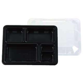 【まとめ買い10個セット品】夢彩ごぜん TSR-90-70 黒/透明[50セット]【 プラ容器弁当容器フードパック 】