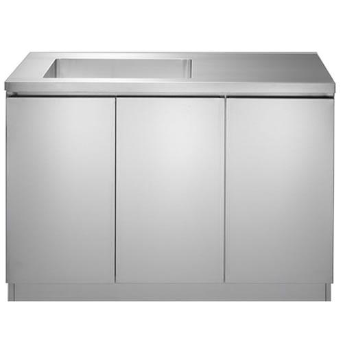 ステンレスコンパクトキッチンW1200×D600×H860 3枚扉(3段棚付き)
