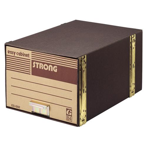 イージーキャビネット 段ボール製・補強材:鉄製 ストロング ES-002 5個 ゼネラル【保存箱 コンテナ イジキャビネット 強化型 B4判用 文書保存箱 527125】