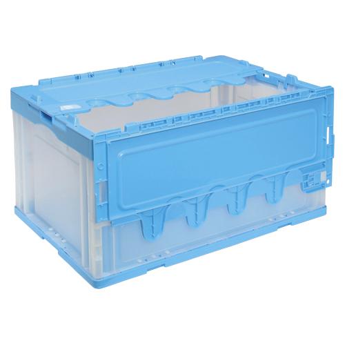 【まとめ買い10個セット品】折りたたみコンテナー フタ付き/透明 CF-S76NR(ブルー透明) 1個 岐阜プラスチック工業
