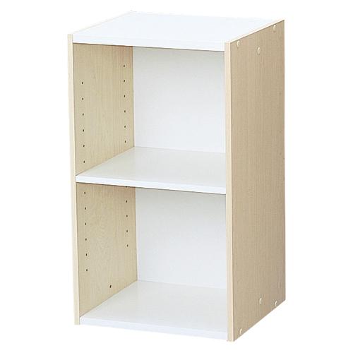 【まとめ買い10個セット品】 スペースユニット 2段(可動棚1枚) UB-6035 ホワイト/ライトメープル