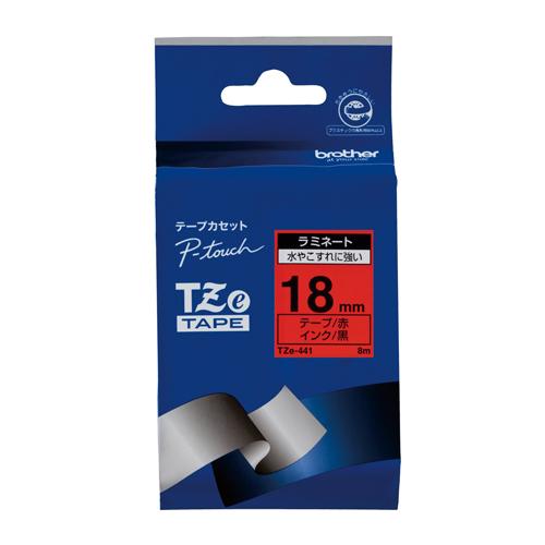 【まとめ買い10個セット品】 ピータッチ用 テープカートリッジ  ラミネートテープ 8m TZe-441 赤 黒文字