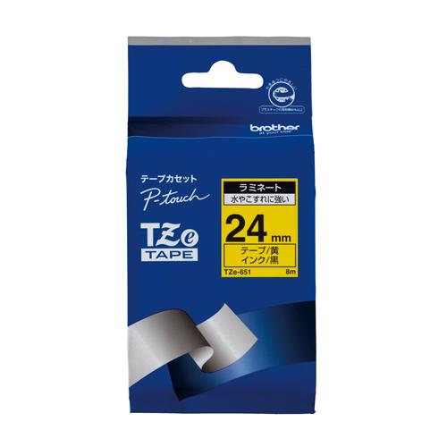 【まとめ買い10個セット品】ピータッチ用 テープカートリッジ ラミネートテープ 8m TZe-651 黄 黒文字 1巻8m ブラザー【 オフィス機器 ラベルライター ピータッチテープ 】