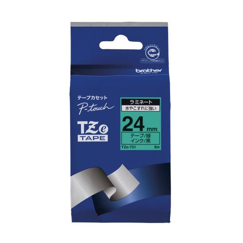 【まとめ買い10個セット品】ピータッチ用 テープカートリッジ ラミネートテープ 8m TZe-751 緑 黒文字 1巻8m ブラザー【 オフィス機器 ラベルライター ピータッチテープ 】